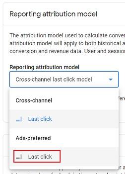ads preferred last click model ga4