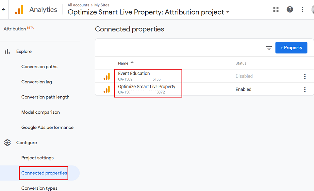 attribution project which is connected to two GA properties