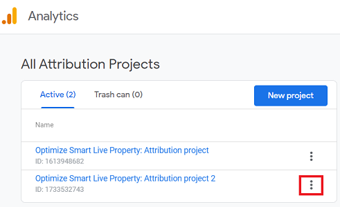 attribution project you want to delete