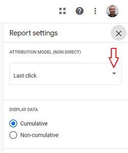 click on the Attribution Model drop down menu