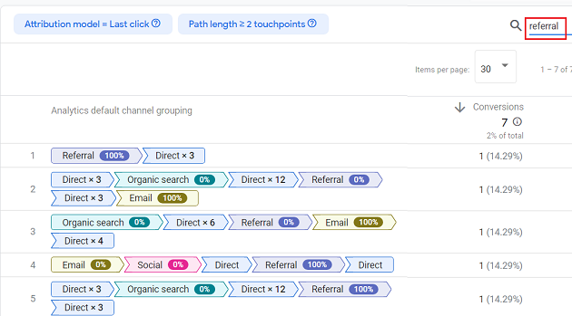 filter out conversion paths which include 'referral touchpoint