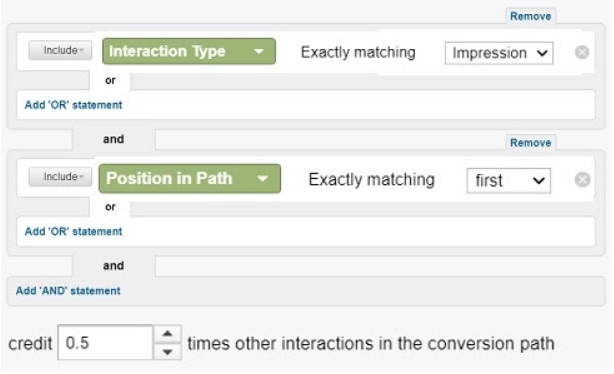 give ad impressions only half of the conversion credit