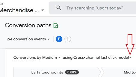 select attribution model ga4 conversion paths report