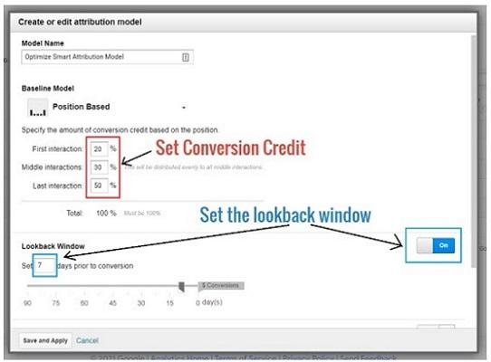 set conversion credit set the lookback window